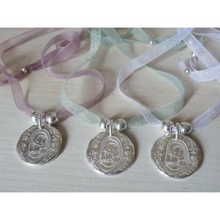 Medalla de la Virgen y Niño rodeados de  ramitas ( medalla 2,3 cm )