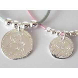 Medalla de la Virgen y el Niño en brazos ( medalla 2,3 cm )