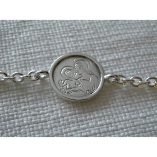 Pulsera  Medalla Escapulario modelo NE (medalla 2 cm)