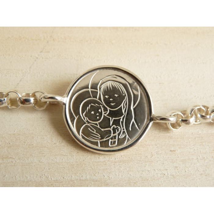 Pulsera de plata  con Medalla Escapulario modelo AN  (medalla 2,1 cm)