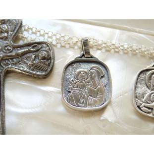 Medalla Escapulario Rectangular con cadena de plata  (medalla 2,2 x 1,9 cm)