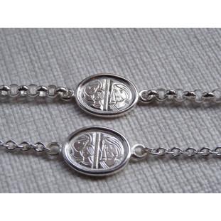 Pulsera de plata con Medalla Escapulario modelo 1 cara
