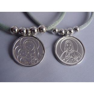 Medalla Escapulario modelo AN (medalla 2 cm) Cuero o cordón elástico