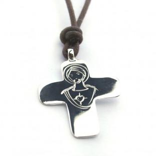 Collar cruz de plata con...
