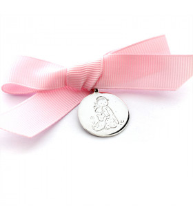 Medalla de cuna Angelita con osito
