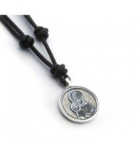 Collar con medalla escapulario VI redondo(medalla 2 cm)